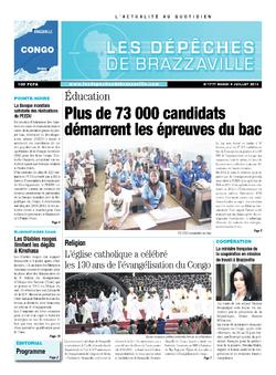 Les Dépêches de Brazzaville : Édition brazzaville du 09 juillet 2013