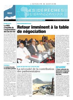 Les Dépêches de Brazzaville : Édition kinshasa du 07 août 2013