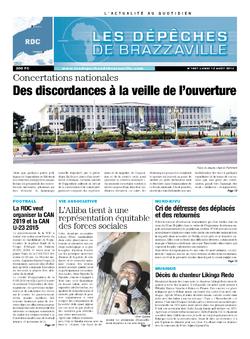 Les Dépêches de Brazzaville : Édition kinshasa du 12 août 2013