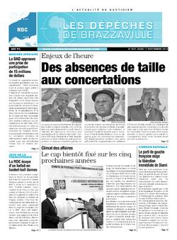 Les Dépêches de Brazzaville : Édition kinshasa du 12 septembre 2013