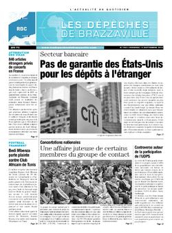 Les Dépêches de Brazzaville : Édition kinshasa du 13 septembre 2013