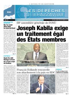 Les Dépêches de Brazzaville : Édition kinshasa du 26 septembre 2013