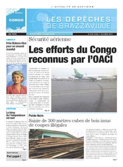 Les Dépêches de Brazzaville : Édition brazzaville du 07 octobre 2013
