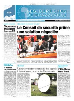 Les Dépêches de Brazzaville : Édition kinshasa du 08 octobre 2013