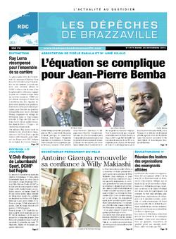 Les Dépêches de Brazzaville : Édition kinshasa du 26 novembre 2013