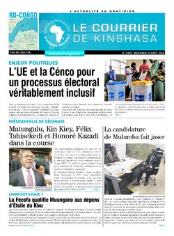Les Dépêches de Brazzaville : Édition brazzaville du 08 août 2018