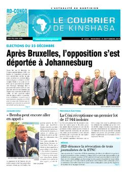 Les Dépêches de Brazzaville : Édition brazzaville du 19 septembre 2018