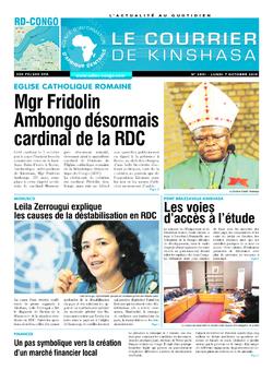 Les Dépêches de Brazzaville : Édition brazzaville du 07 octobre 2019