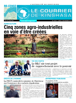 Les Dépêches de Brazzaville : Édition brazzaville du 09 décembre 2019