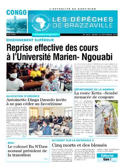 Les Dépêches de Brazzaville : Édition brazzaville du 22 septembre 2020